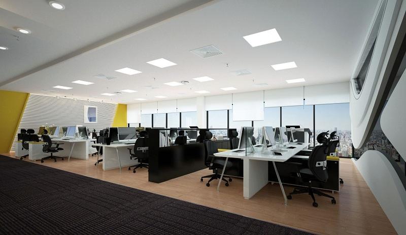 Phối màu tương phản trong thiết kế văn phòng hiện đại