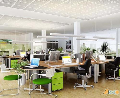 Thiết kế nội thất văn phòng đẹp tại Hà Nội với không gian xanh