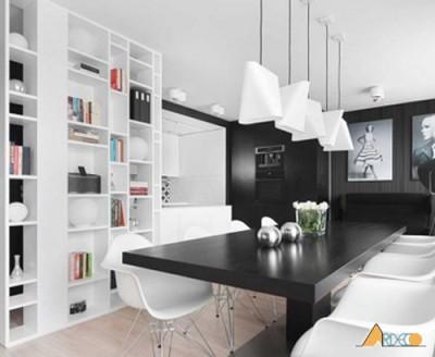 Thiết kế nội thất nhà ở đẹp với 2 gam màu đen trắng