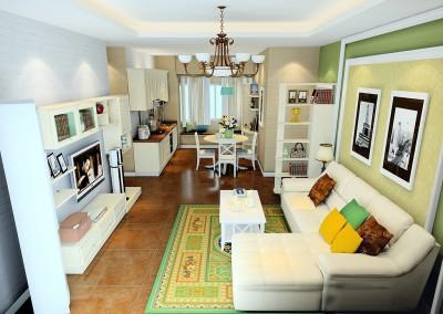 Thiết kế nội thất chung cư phòng khách nối liền phòng bếp