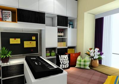 Thiết kế nội thất phòng ngủ mở rộng kết hợp bàn làm việc khoa học