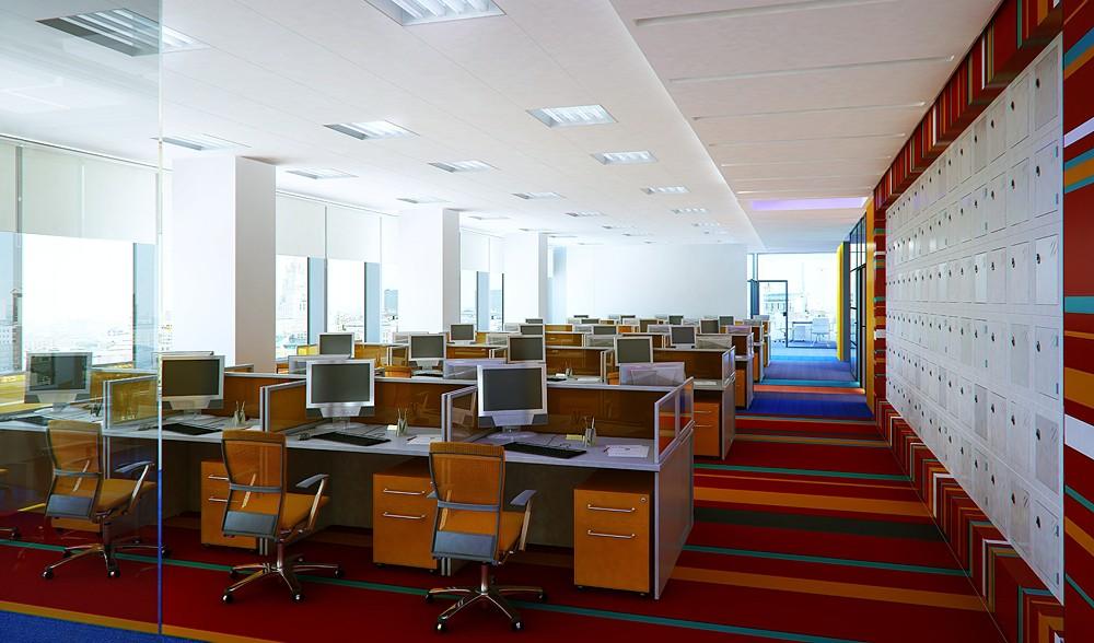 Thiết kế nội thất phòng làm việc nhân viên đa màu sắc
