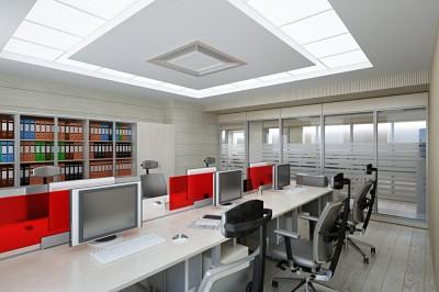 Thiết kế phòng nhân viên sang trọng với tông màu xám đỏ trắng