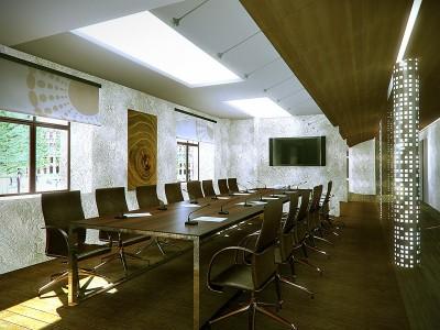Thiết kế phòng họp ấm cúng với gỗ tự nhiên