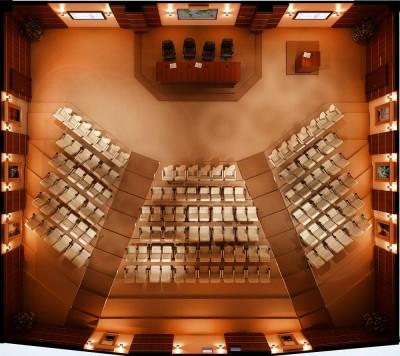Thiết kế phòng hội trường nhỏ với 3 dãy ngồi chính