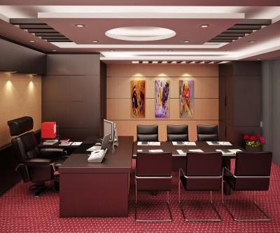 Thiết kế phòng giám đốc với bàn họp kín tiện lợi