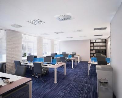 Thiết kế phòng nhân viên hiện đại màu sắc đơn giản lịch sự