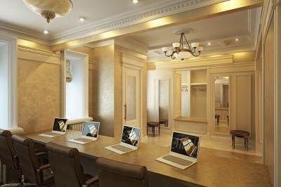 Thiết kế phòng làm việc nhân viên phong cách tân cổ điển