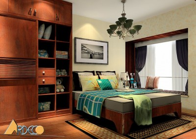 Thiết kế nội thất phòng ngủ với vật liệu gỗ giản dị