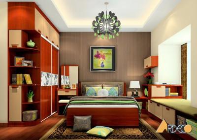 Thiết kế nội thất phòng ngủ ấm áp với màu gỗ trầm