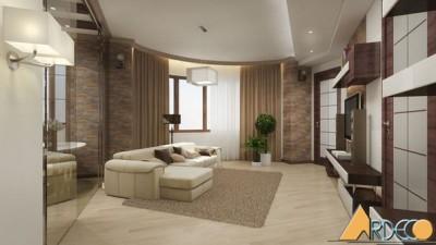 Mẫu thiết kế phòng khách chung cư cao cấp phong cách Nhật