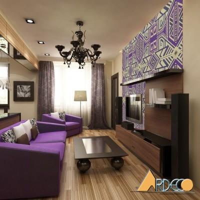 Phòng khách nhỏ ấn tượng với gam màu tím