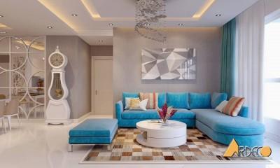 Mẫu thiết kế phòng khách với tông màu xanh nhẹ nhàng