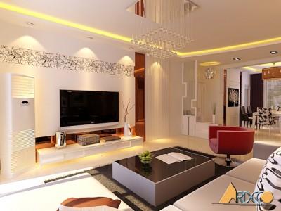 Thiết kế phòng khách liền kề bếp nhà chị Vân