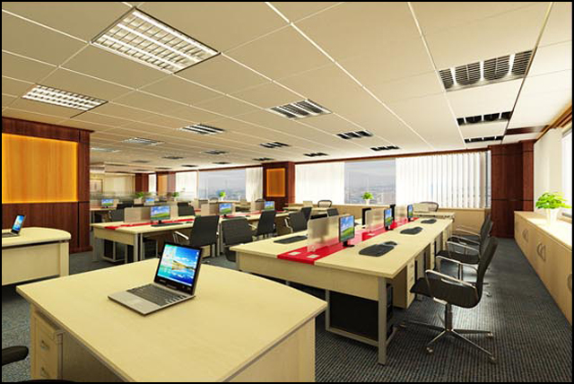 Thiết kế nội thất văn phòng làm việc ngân hàng