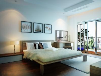 Thiết kế nội thất phòng ngủ thoáng rộng đón nhiều ánh sáng và gió