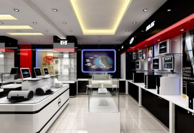 Thiết kế showroom điện thoại máy tính