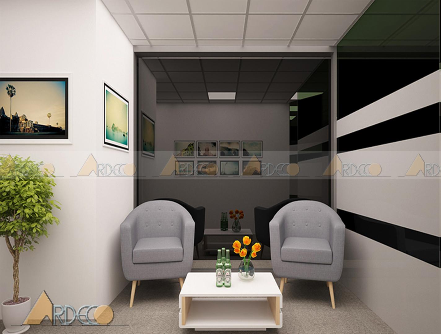 Thiết kế thi công nội thất phòng khách tổng công ty VTC