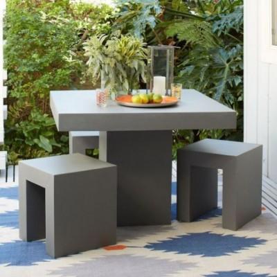 Thiết kế bàn ghế cà phê phong cách bê tông thô
