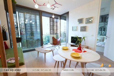 Thiết kế nội thất chung cư 45m2 thu hút với cách phối màu ấn tượng