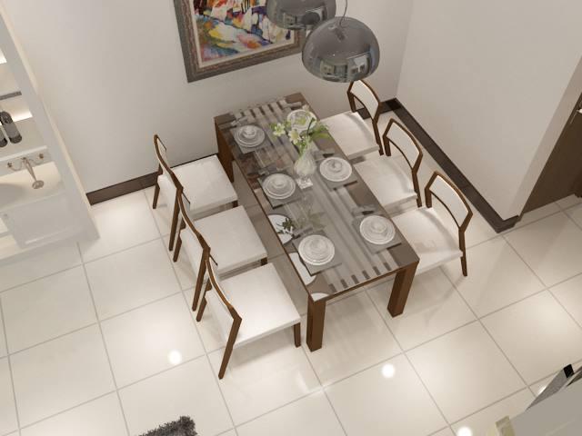 Bộ bàn ăn hiện đại gỗ và kính