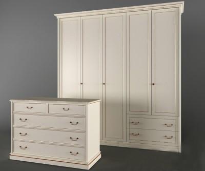 Tủ đựng quần áo gỗ cao cấp màu trắng 02